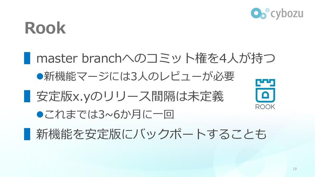 Rook ▌master branchへのコミット権を4⼈が持つ l新機能マージには3⼈のレビ...