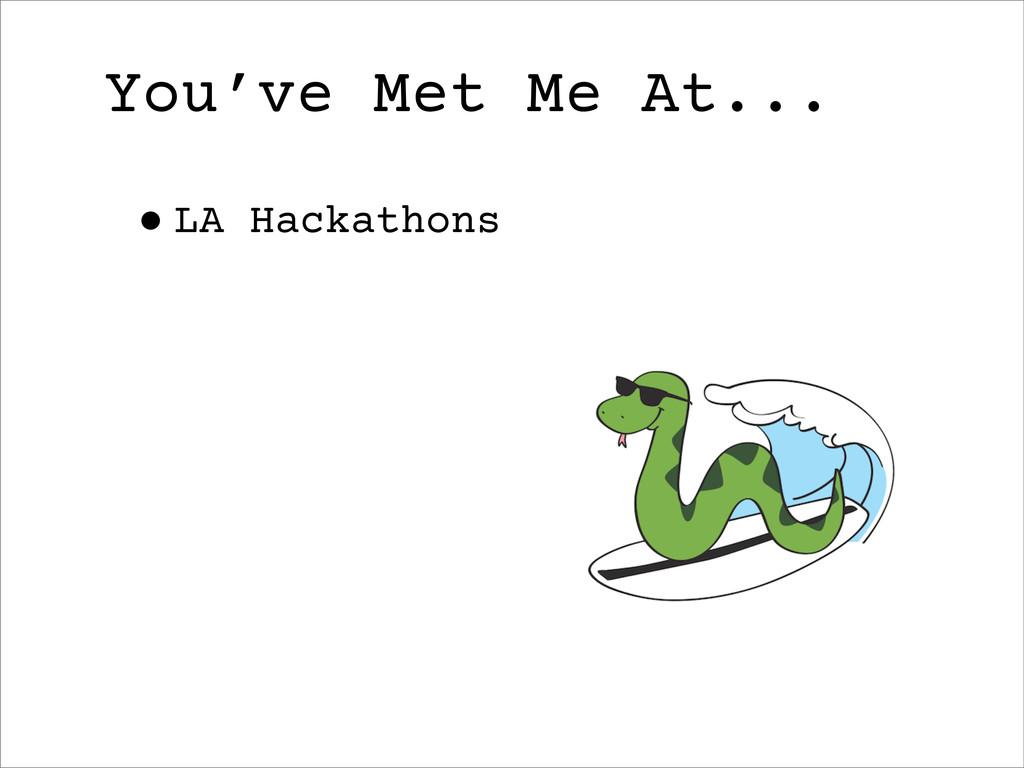 You've Met Me At... •LA Hackathons