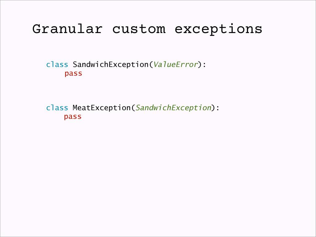 Granular custom exceptions class SandwichExcept...