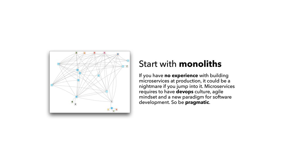 Start with monoliths If you have no experience ...