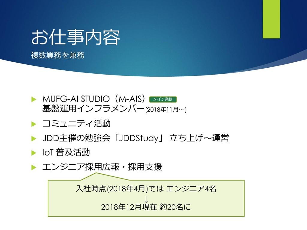 お仕事内容  MUFG-AI STUDIO(M-AIS) 基盤運用インフラメンバー(2018...
