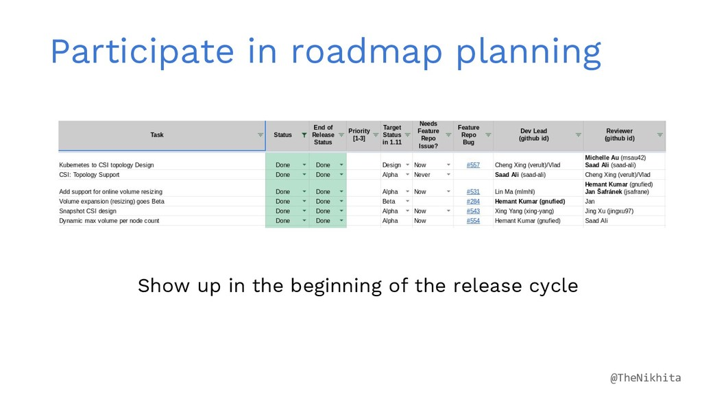 Participate in roadmap planning Show up in the ...