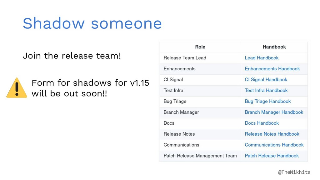 Shadow someone Join the release team! Form for ...
