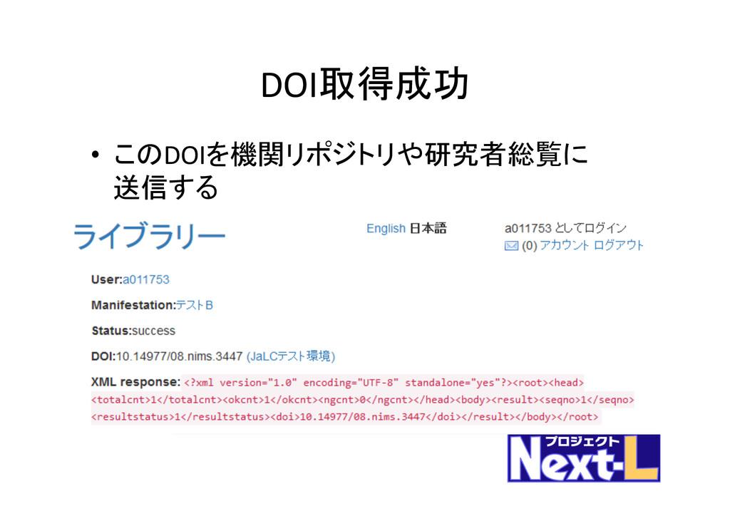 DOI取得成功 • このDOIを機関リポジトリや研究者総覧に  送信する