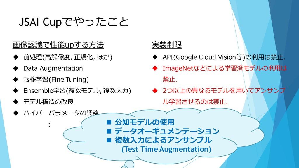 JSAI Cupでやったこと 実装制限 ◆ API(Google Cloud Vision等)...