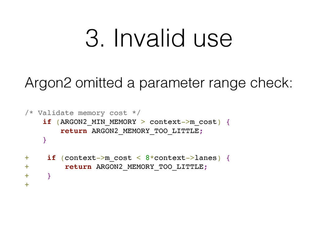 3. Invalid use Argon2 omitted a parameter range...