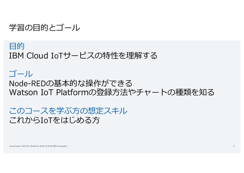学習の⽬的とゴール ⽬的 IBM Cloud IoTサービスの特性を理解する ゴール Node...