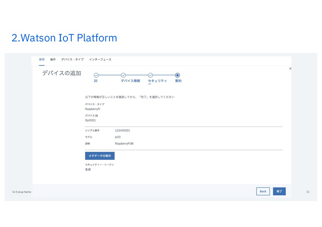 2.Watson IoT Platform Grさpoup Name / DOC ID / M...
