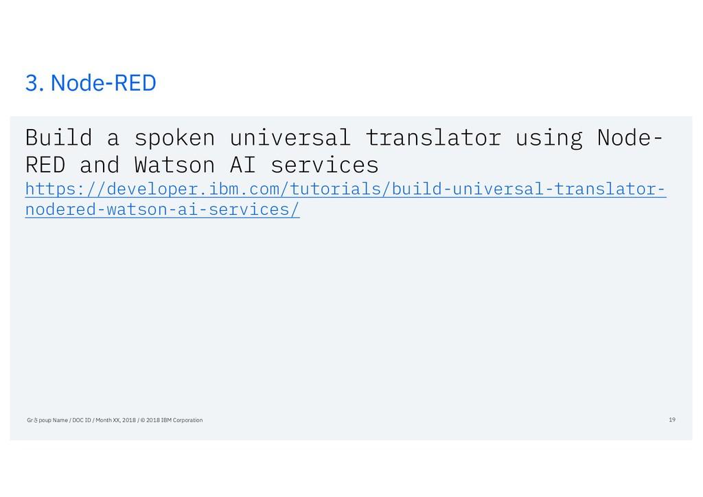 3. Node-RED Build a spoken universal translator...