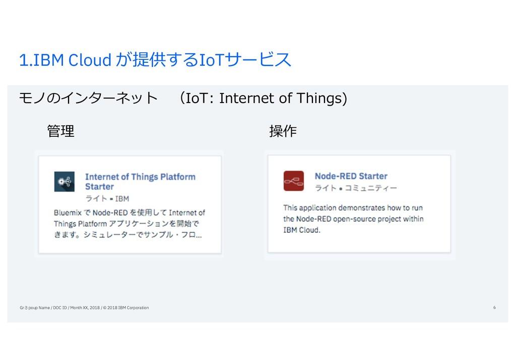 1.IBM Cloud が提供するIoTサービス モノのインターネット (IoT: Inter...