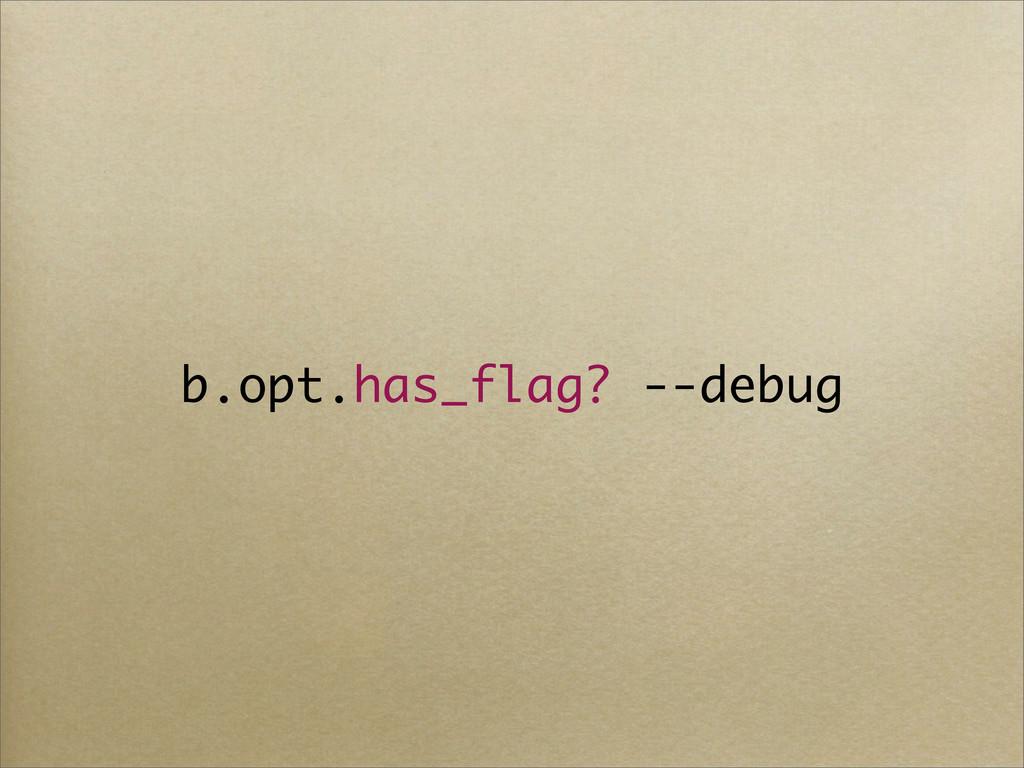 b.opt.has_flag? --debug