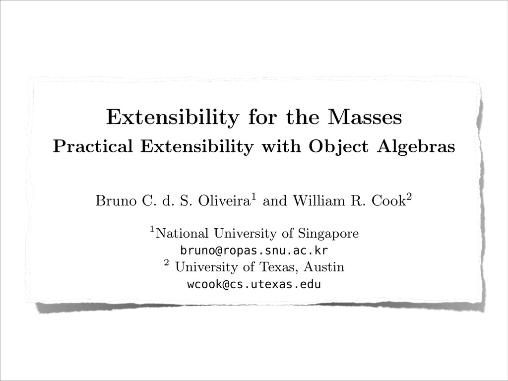 Extensibility for the Masses Practical Extensib...