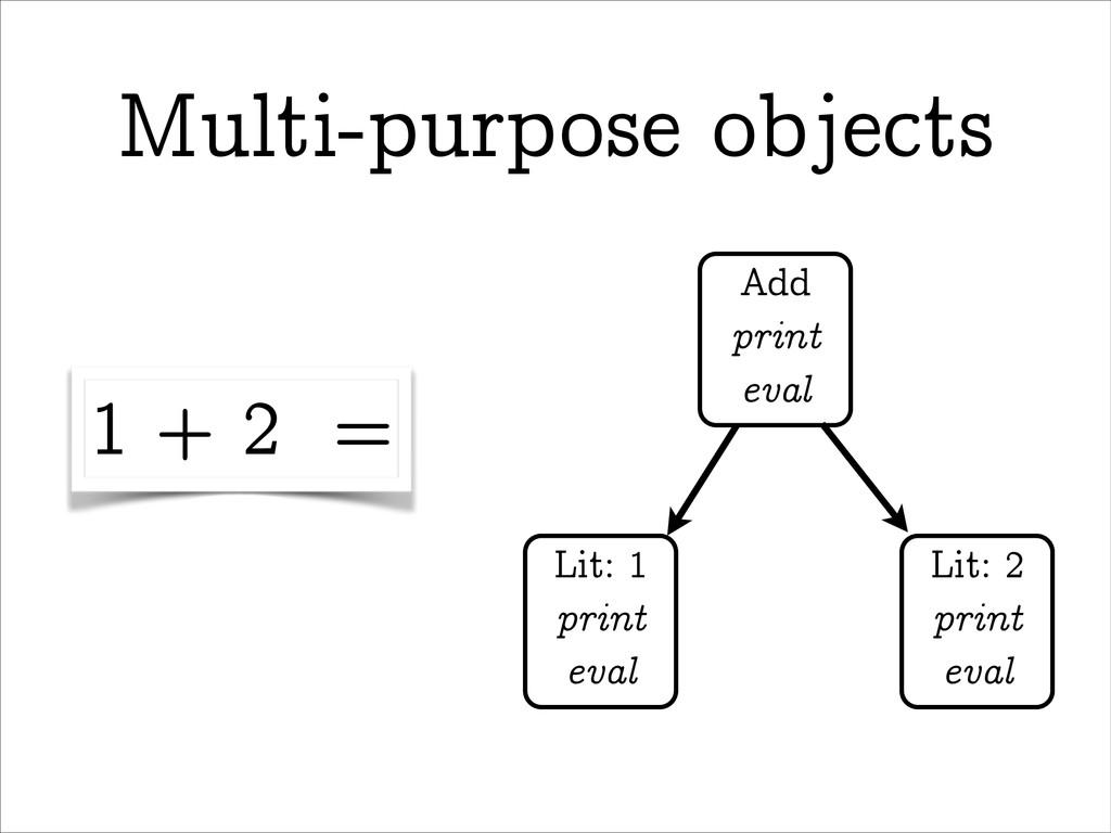 Multi-purpose objects Add print eval Lit: 1 pri...