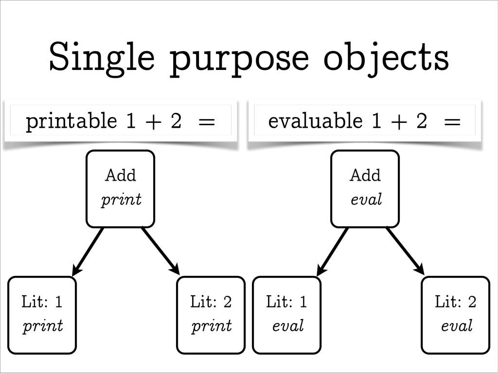 Single purpose objects Add print Lit: 1 print L...