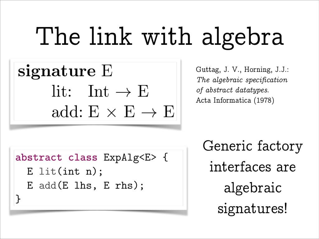 The link with algebra An algebraic signature [1...