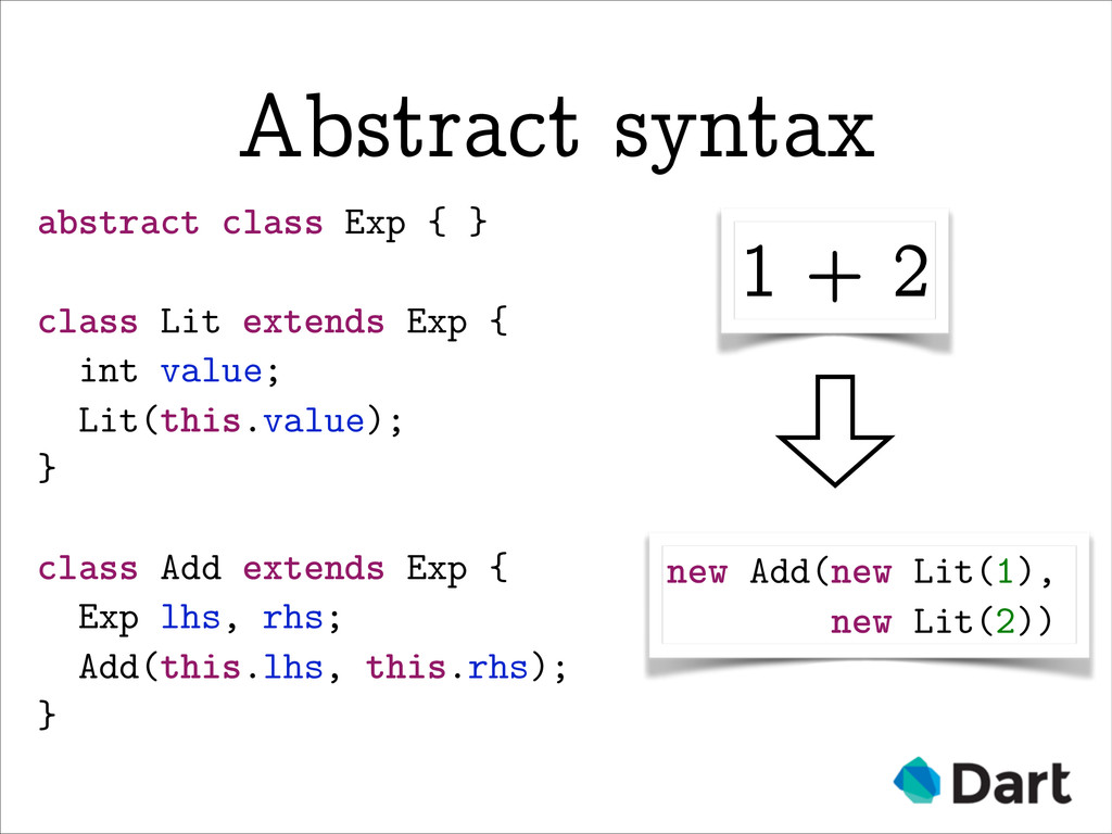 abstract class Exp { } ! class Lit extends Exp ...