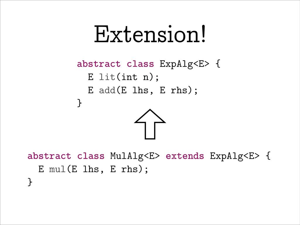 Extension! abstract class ExpAlg<E> { E lit(int...