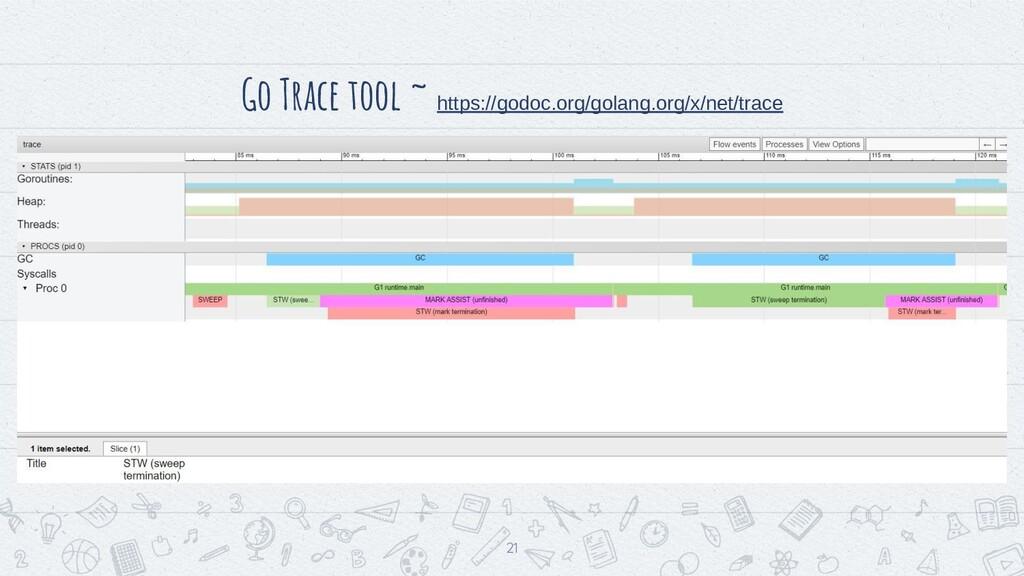 Go Trace tool ~ https://godoc.org/golang.org/x/...