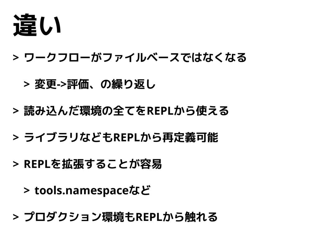 違い > ワークフローがファイルベースではなくなる > 変更->評価、の繰り返し > 読み込ん...