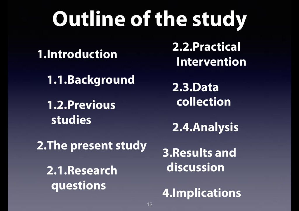 Outline of the study 12 1.Introduction 1.1.Back...