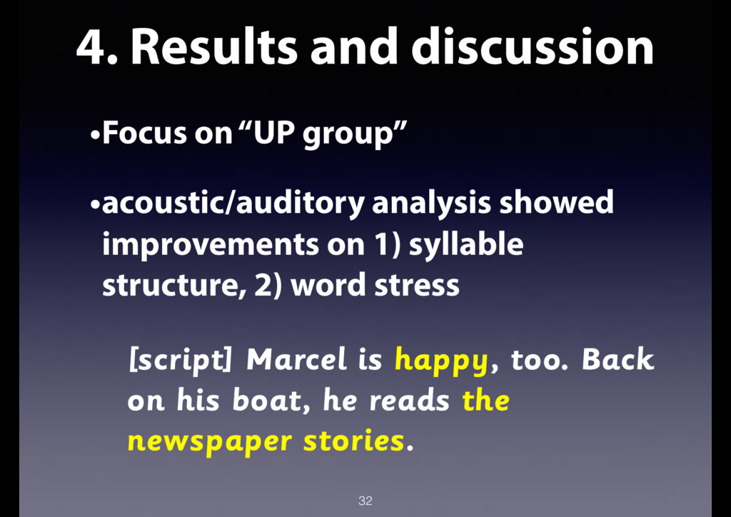 "4. Results and discussion •Focus on ""UP group"" ..."
