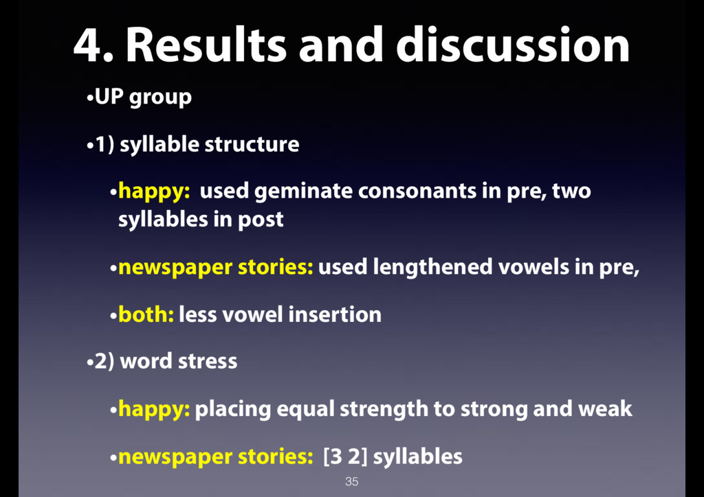 4. Results and discussion •UP group •1) syllabl...
