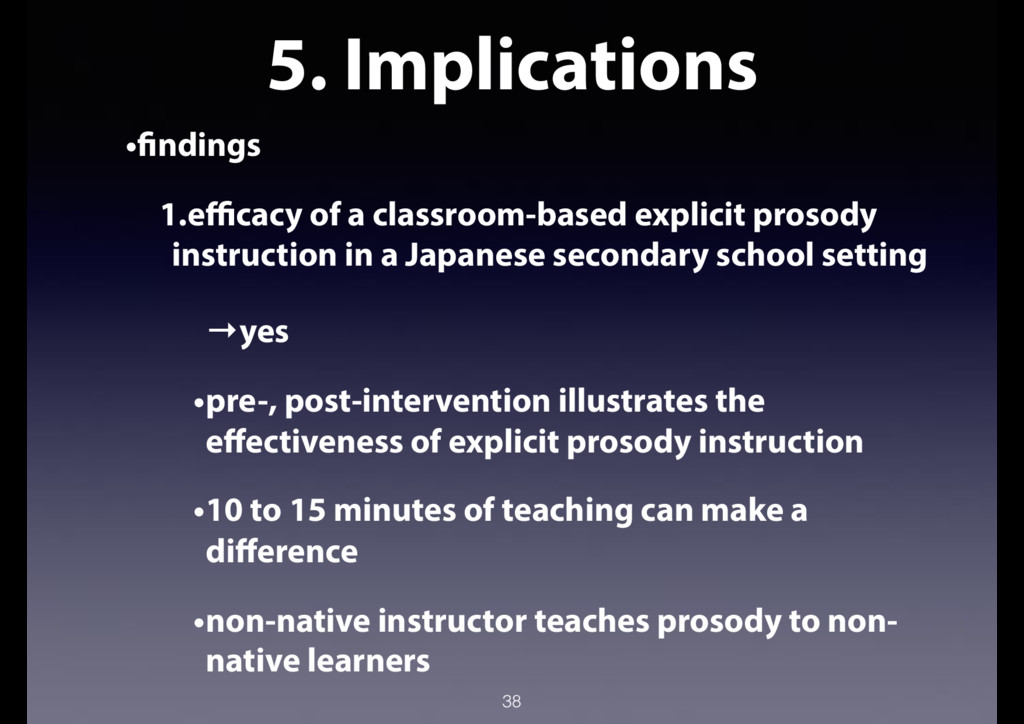 5. Implications •findings 1.efficacy of a class...