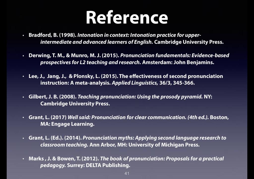 41 Reference • Bradford, B. (1998). Intonation ...