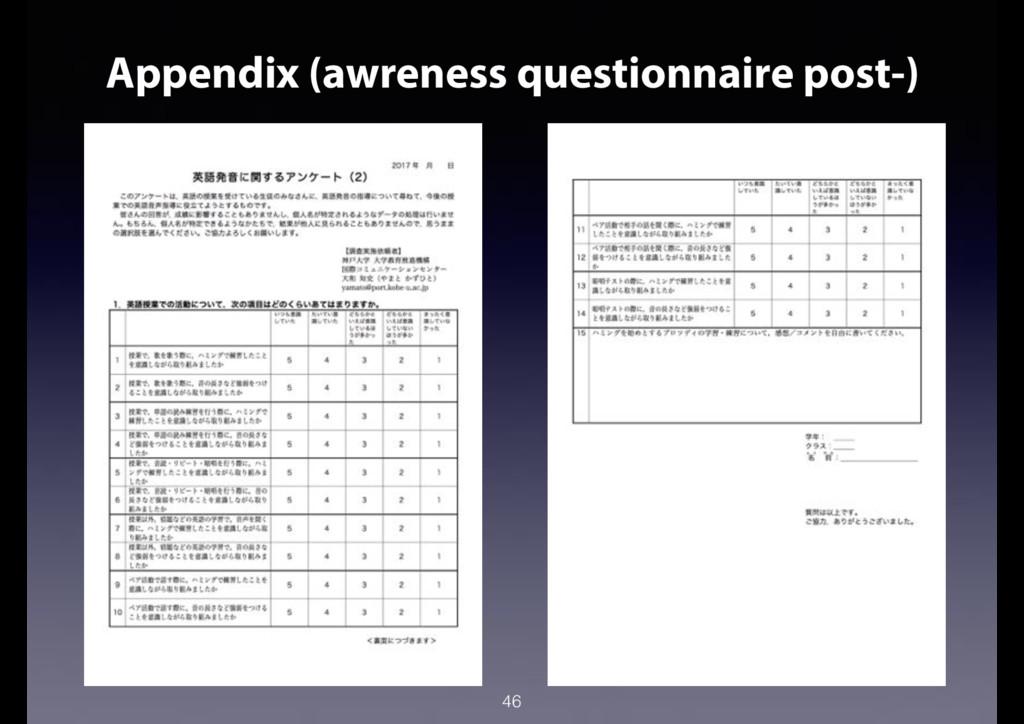 46 Appendix (awreness questionnaire post-)