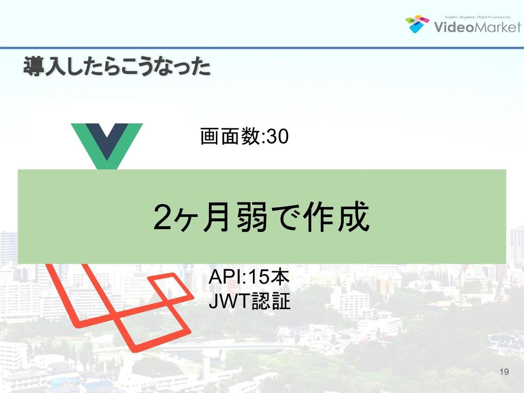 19 導入したらこうなった 画面数:30 API:15本 JWT認証 2ヶ月弱で作成