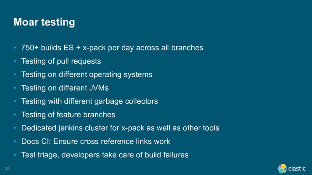 33 Moar testing • 750+ builds ES + x-pack per d...