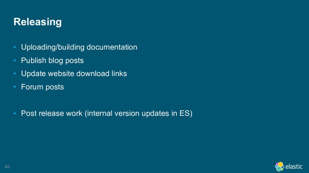 40 Releasing • Uploading/building documentation...