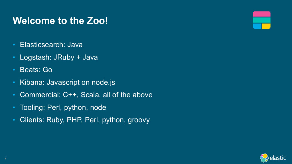 7 Welcome to the Zoo! • Elasticsearch: Java • L...
