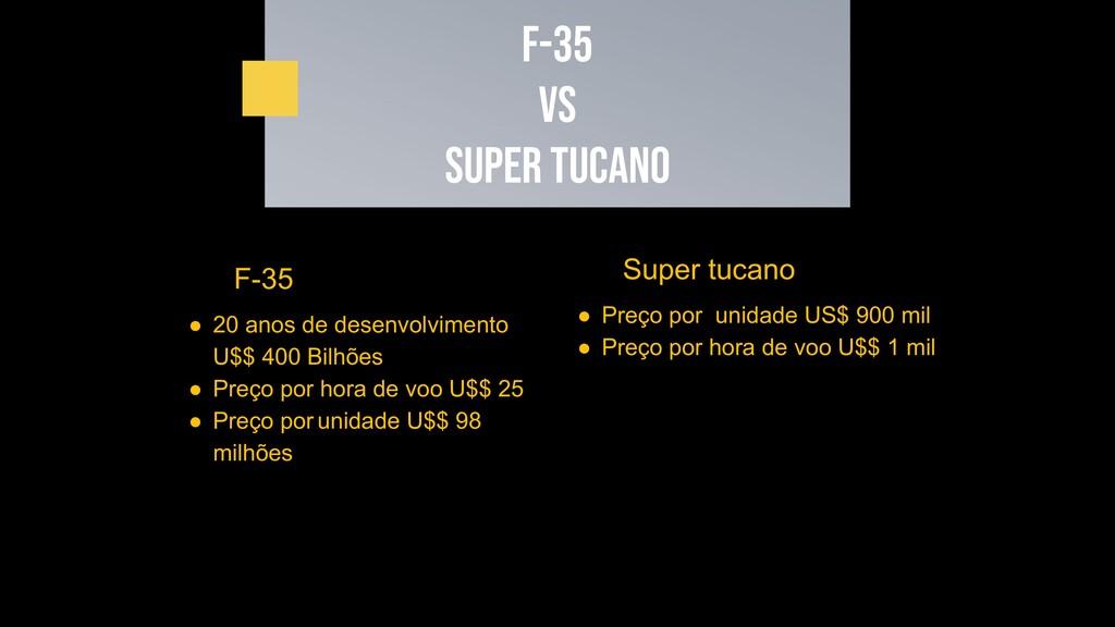 F-35 VS SUPER TUCANO Super tucano ● Preço por u...