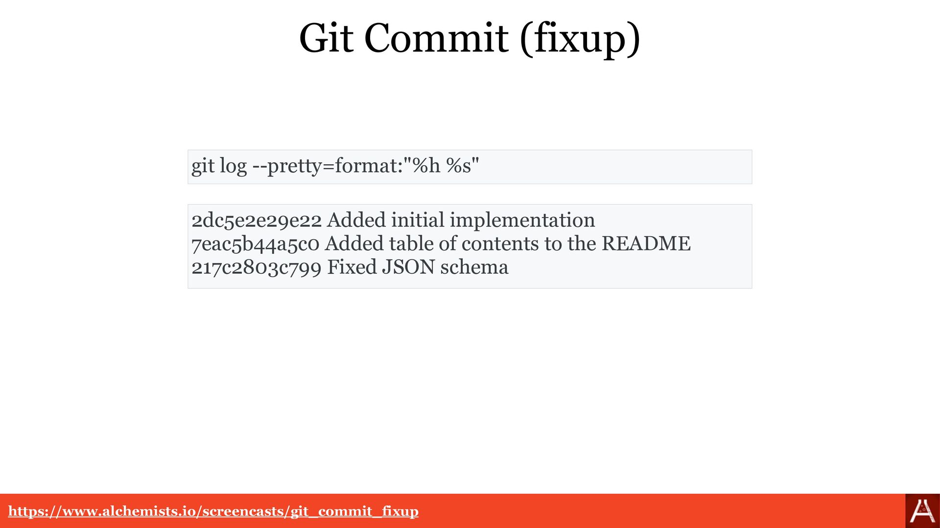 Git Commit (fixup) ca5a69955876 Added initial i...