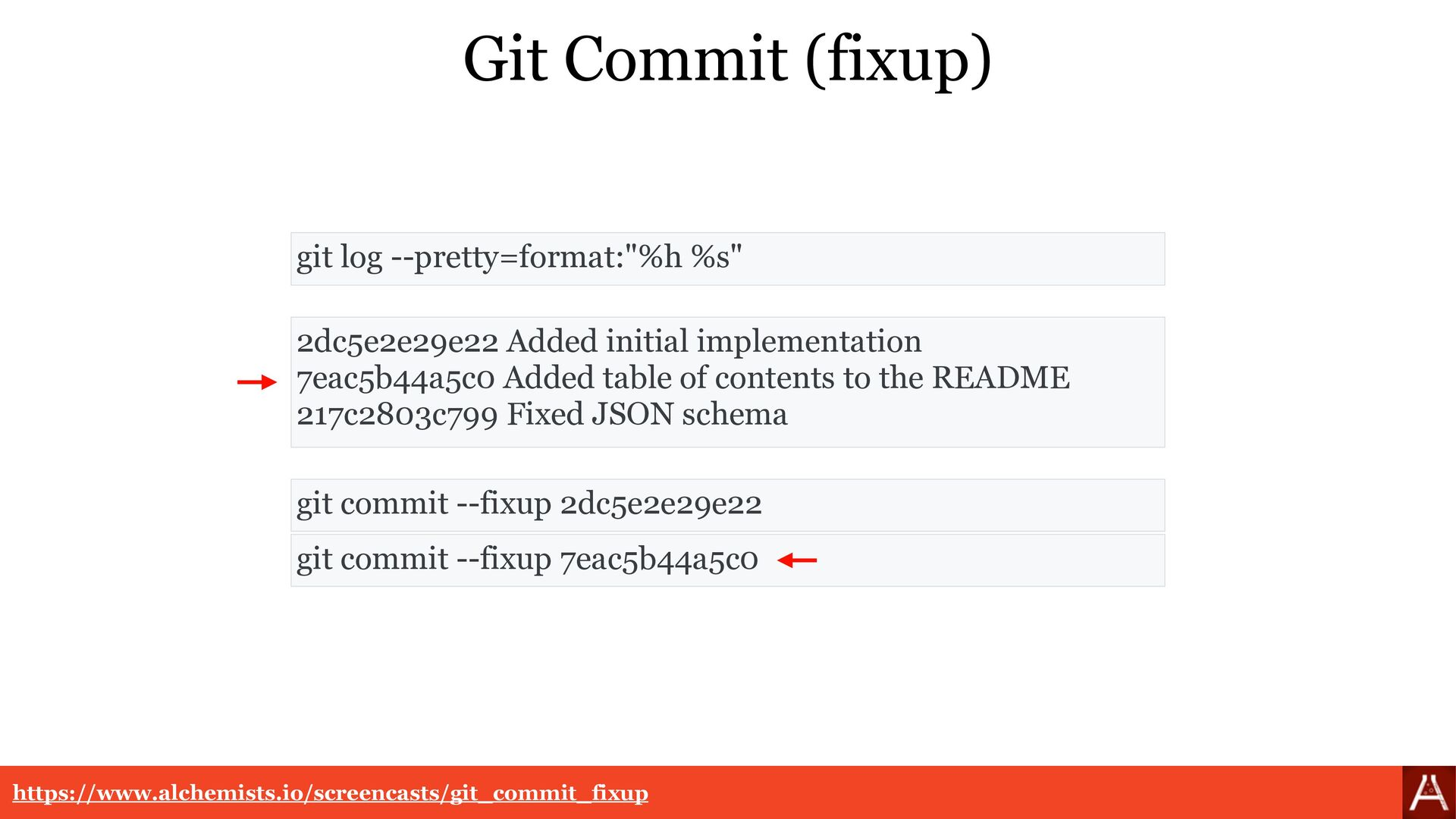 "Git Commit (squash) git log --pretty=format:""%h..."