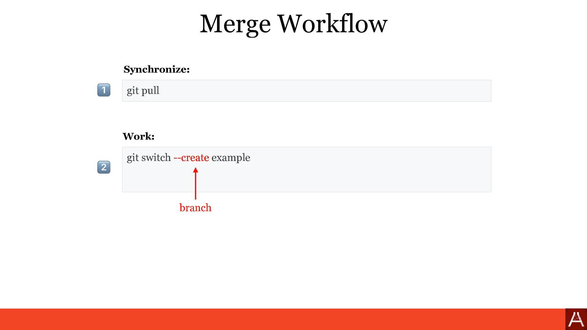 git pull Merge Workflow git switch --create exa...
