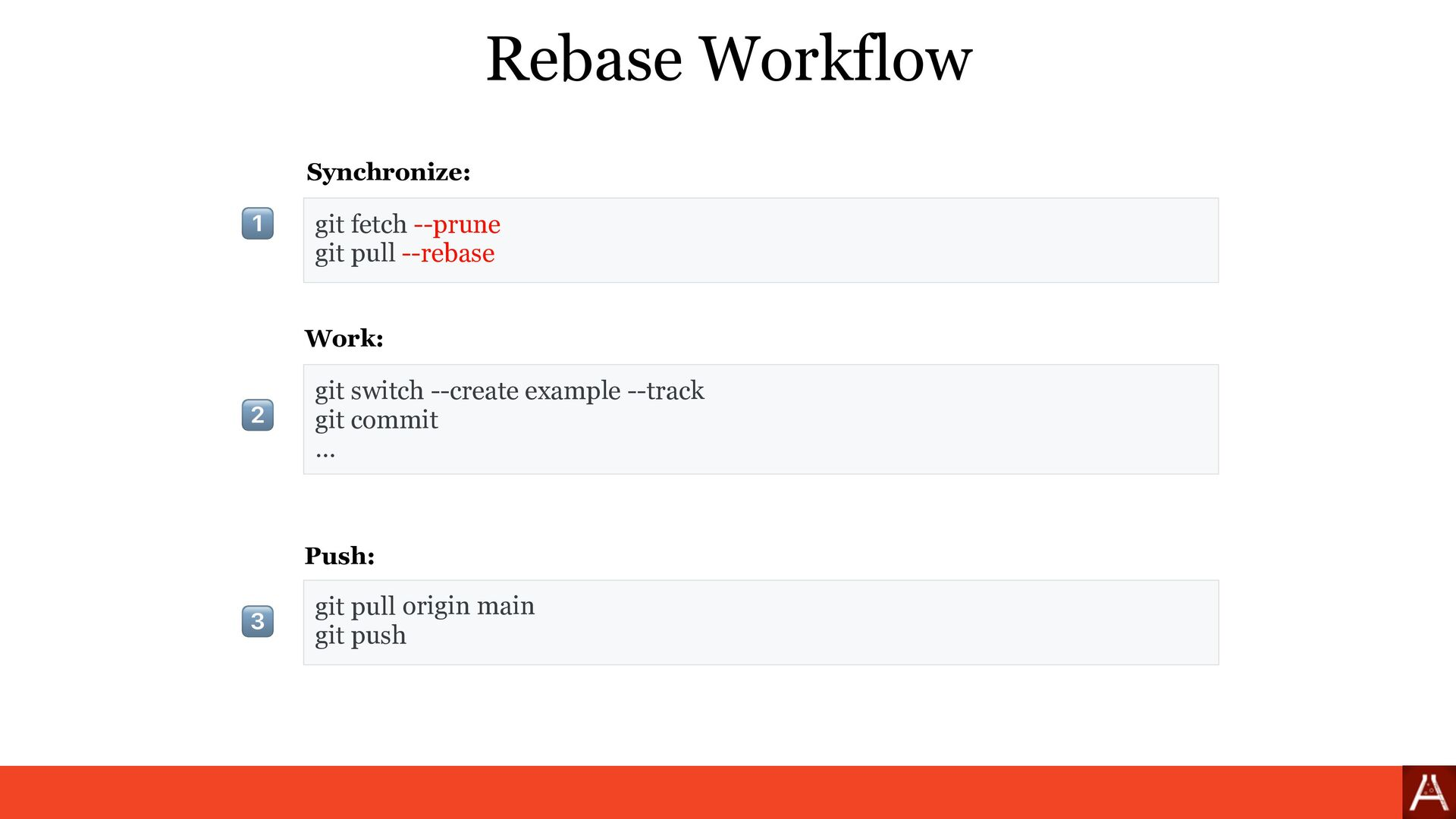 git pull Rebase Workflow git switch --create ex...