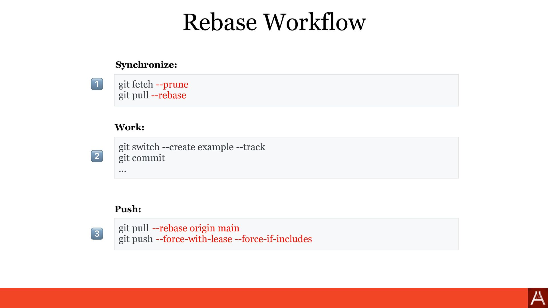 git fetch --prune git pull --rebase Rebase Work...