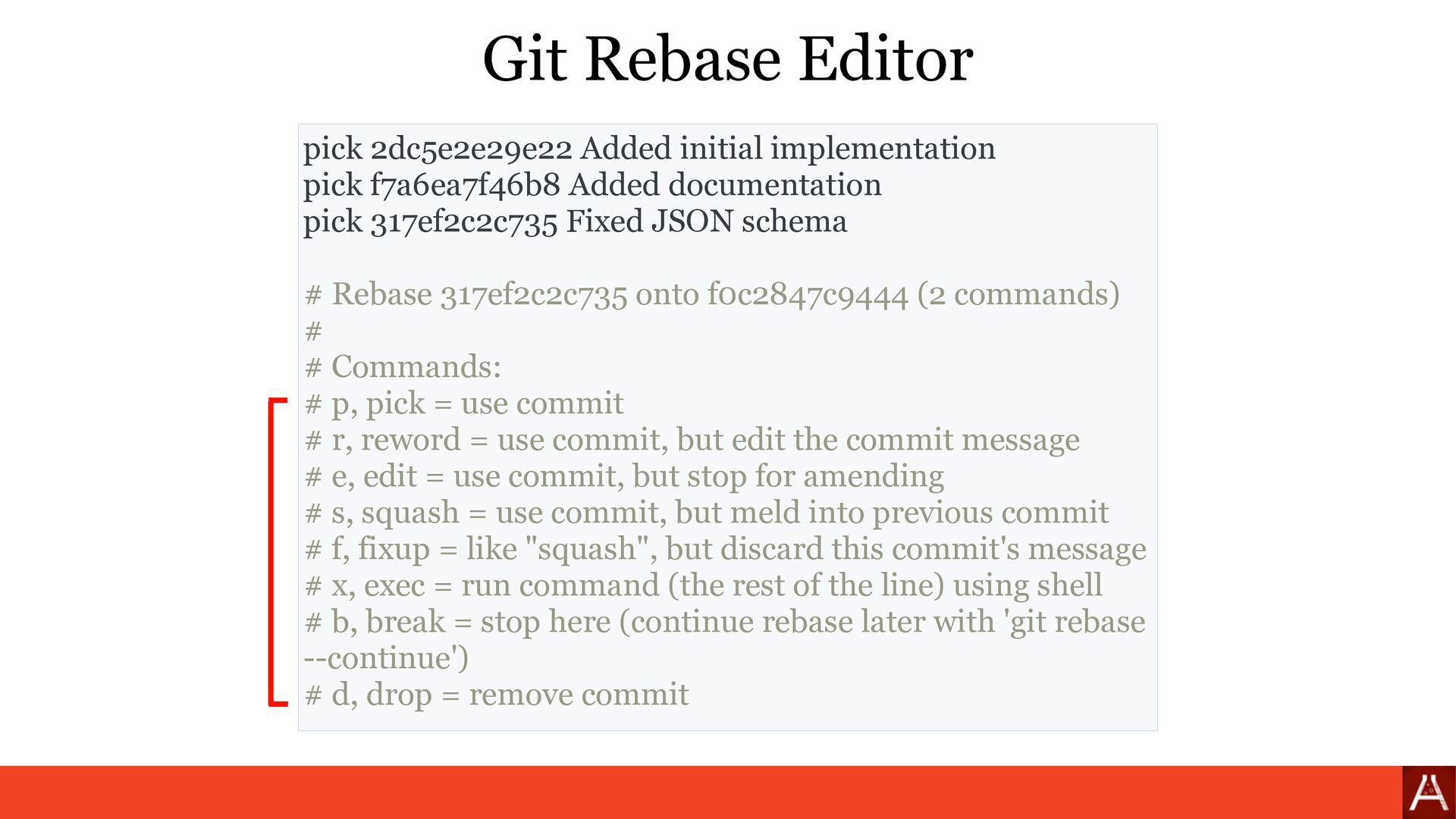 (by root) git rebase --interactive --root ⚠ Git...