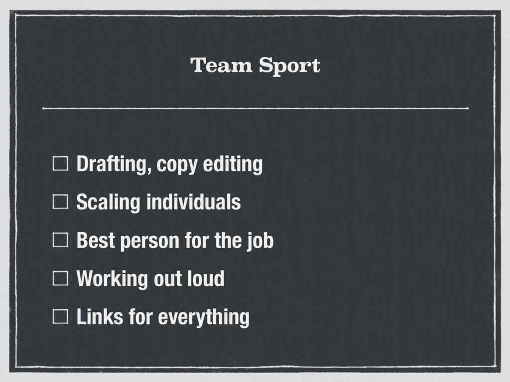 Team Sport Drafting, copy editing Scaling indiv...