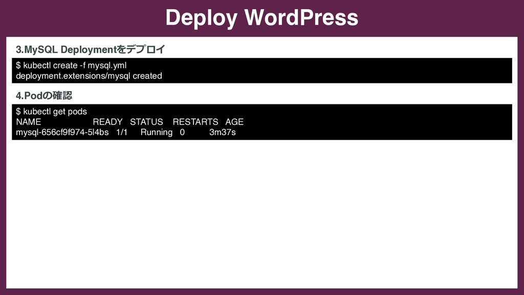 Deploy WordPress $ kubectl create -f mysql.yml ...