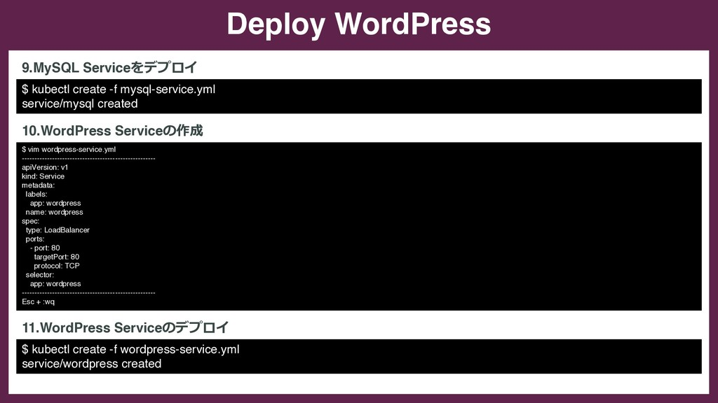 Deploy WordPress $ kubectl create -f mysql-serv...
