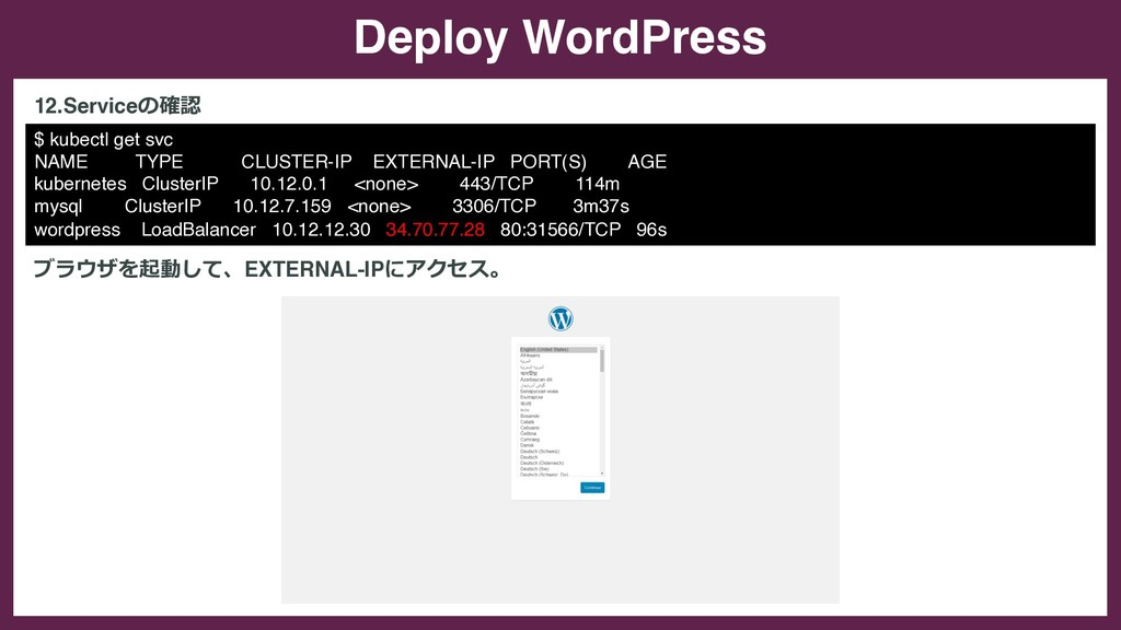 Deploy WordPress $ kubectl get svc NAME TYPE CL...