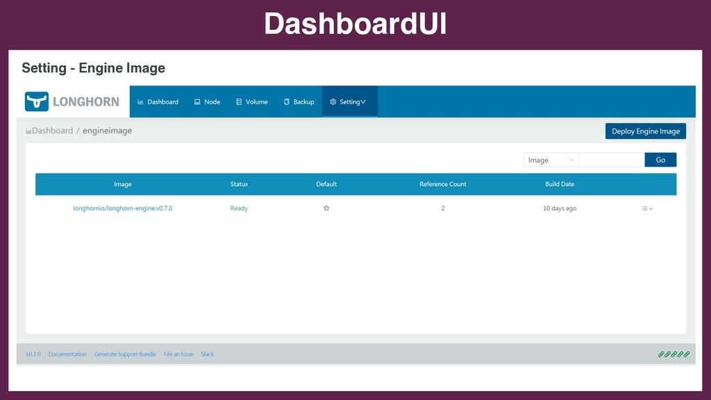 DashboardUI Setting - Engine Image