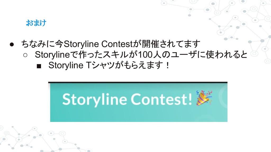 おまけ ● ちなみに今Storyline Contestが開催されてます ○ Storylin...