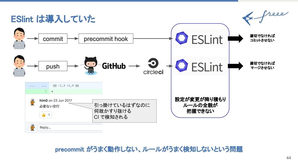 ESlint は導入していた 44 precommit hook commit push pr...