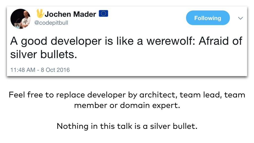 Feel free to replace developer by architect, te...