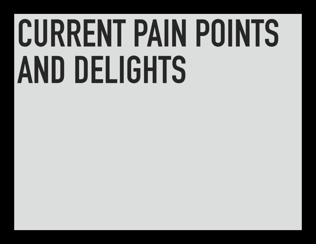 CURRENT PAIN POINTS AND DELIGHTS