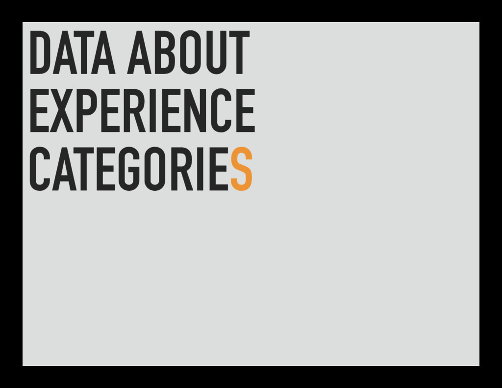 DATA ABOUT EXPERIENCE CATEGORIES